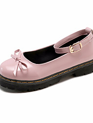 cheap -Women's Heels Low Heel Bowknot PU Casual Spring Black / Pink / Daily