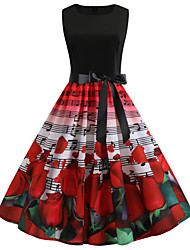 cheap -Women's Red Dress Vintage Chinoiserie Swing Trumpet / Mermaid Skater Floral Geometric Plaid Lace up Patchwork Print S M / Satin