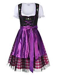 cheap -Oktoberfest Beer Dirndl Trachtenkleider Women's Dress Bavarian Costume Red Purple