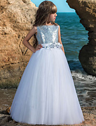 cheap -Ball Gown Maxi Wedding / Birthday / Pageant Flower Girl Dresses - Tulle Sleeveless Boat Neck with Belt / Crystals / Rhinestones / Paillette