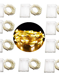 cheap -10m String Lights 100 LEDs Warm White / White / Multi Color Party / Decorative / Holiday AA Batteries Powered 10pcs
