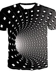 cheap -Men's Graphic optical illusion Plus Size T-shirt Short Sleeve Daily Tops Streetwear Punk & Gothic Round Neck Black Blue Purple / Summer