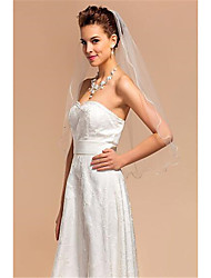 cheap -One-tier Sweet Style Wedding Veil Elbow Veils with Solid Tulle / Straight Cut
