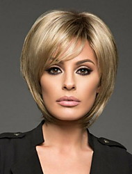 cheap -Synthetic Wig Straight With Bangs Wig Blonde Short Light golden Synthetic Hair 27 inch Women's Women Blonde