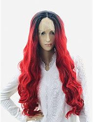 cheap -Wavy Body Wave Asymmetrical Lace Front Wig Very Long Black / Red Synthetic Hair 24 inch Women's Party Synthetic Color Gradient Red Black