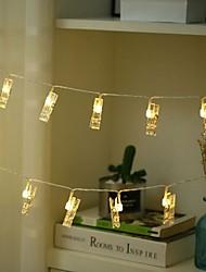 cheap -1m Photo Clip Holders String Lights 10 LEDs Warm White Home Decorative 3 V 1 set