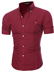 cheap -Men's Color Block Solid Colored Shirt Classic Collar Wine / White / Black / Purple / Blushing Pink / Brown / Gray / Light Blue