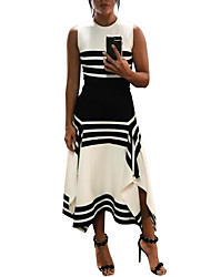 cheap -Women's Maxi Swing Dress - Striped Cotton Black Blue Wine XL XXL XXXL