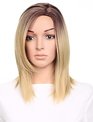 cheap -Synthetic Wig Straight Taylor Free Part Wig Ombre Medium Length Black / Gold Synthetic Hair 16 inch Women's Adjustable Heat Resistant Easy dressing Ombre