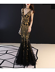 cheap -Mermaid / Trumpet Plunging Neck Floor Length Tulle / Sequined Sexy / Sparkle & Shine Formal Evening Dress with Sequin 2020