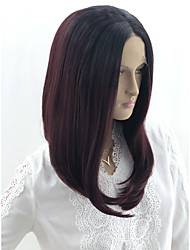cheap -Curly Kardashian Bob Lace Front Wig Pink Burgundy Short Medium Length Black / Red Synthetic Hair 12-18 inch Women's Women Color Gradient Best Quality Pink Burgundy