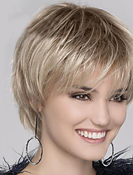 cheap -Synthetic Wig Natural Straight Free Part Wig Blonde Short Light golden Synthetic Hair 12 inch Women's Fashionable Design Women Synthetic Blonde