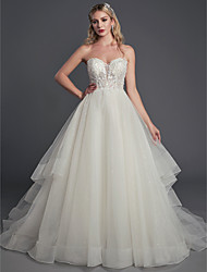 cheap -Ball Gown Sweetheart Neckline Court Train Lace / Tulle Sleeveless Sexy Made-To-Measure Wedding Dresses with Beading / Sequin 2020