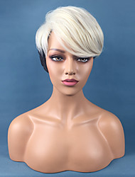cheap -Synthetic Wig Straight Pixie Cut Wig Ombre Short Black / Blonde Synthetic Hair 10 inch Women's Adjustable Heat Resistant Easy dressing Black Ombre