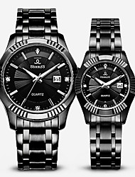 cheap -Couple's Dress Watch Quartz Stainless Steel Black 30 m Water Resistant / Waterproof Calendar / date / day Casual Watch Analog Classic Fashion - White Black One Year Battery Life