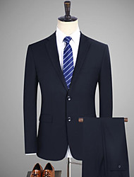 cheap -Black / Navy Blue Solid Colored Tailored Fit Cotton Suit - Notch Single Breasted Two-buttons