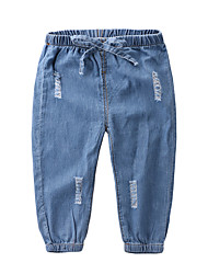 cheap -Kids Boys' Basic Street chic Solid Colored Cut Out Cotton Jeans Blue