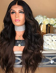 cheap -Synthetic Wig Body Wave Middle Part Lace Front Wig Long Dark Brown / Dark Auburn Synthetic Hair 26 inch Women's Women Dark Brown