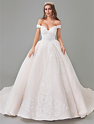 cheap -A-Line Wedding Dresses Off Shoulder Court Train Lace Tulle Strapless See-Through with Pattern / Print Appliques 2020