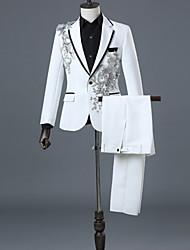 cheap -Men's EU / US Size Suits Shawl Lapel Polyester White / Black / Red / Slim
