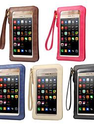 Недорогие -6,3-дюймовый чехол универсальный с окнами / держателем карты сумка сплошной цвет мягкая искусственная кожа