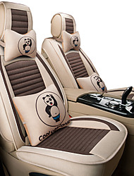 cheap -Car cushion cartoon fabric all surround linen seat set winter new cute ice silk Four Seasons /five seats/general motors seat cover/Beige /Gray