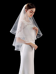 cheap -One-tier Simple / Classic Style Wedding Veil Fingertip Veils with Solid 55.12 in (140cm) Tulle / Drop Veil