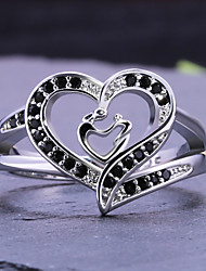 cheap -Women's Statement Ring Ring Cubic Zirconia 1pc White Copper Silver-Plated Geometric Stylish Luxury Party Gift Jewelry Hollow Out Heart Cool