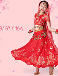 cheap -Belly Dance / Kids' Dancewear Outfits Girls' Training / Performance Chiffon / Lace / Sequined Lace / Pattern / Print / Paillette Short Sleeve Dropped Hair Jewelry / Skirts / Top