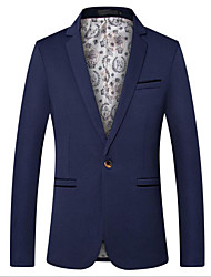 cheap -Black / Dark Navy / Royal Blue Solid Colored Slim Fit Cotton Suit - Notch Single Breasted One-button