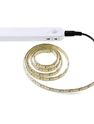 cheap -1pcs 3m Wireless PIR Motion Sensor LED Bed Closet Night light 5V 2835 LED Strip AAA Battery Power Flexiable lamp Illumination