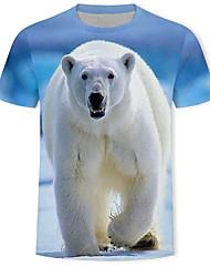 abordables -Tee-shirt Homme, 3D / Animal / Bande dessinée Imprimé Bleu clair