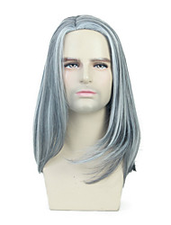 cheap -Synthetic Wig Toupees Straight Natural Straight Middle Part Wig Medium Length Grey Synthetic Hair 16 inch Men's Simple Fashionable Design Synthetic Gray / African American Wig