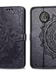 Недорогие -Кейс для Назначение Motorola Moto G6 Plus Бумажник для карт / Флип Чехол Однотонный Твердый Кожа PU