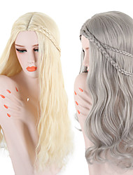 cheap -Synthetic Wig Wavy Body Wave Scarlett Middle Part Wig Blonde Long Blonde Grey Synthetic Hair 26 inch Women's Adjustable Heat Resistant Easy dressing Blonde Gray