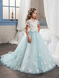 cheap -Ball Gown Sweep / Brush Train Wedding / Birthday / Pageant Flower Girl Dresses - Cotton / Tulle Short Sleeve Jewel Neck with Lace / Embroidery / Appliques