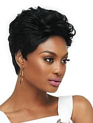cheap -Human Hair Wig Short Curly Natural Wave Pixie Cut Black Women Comfortable African American Wig Capless Women's All Natural Black / For Black Women