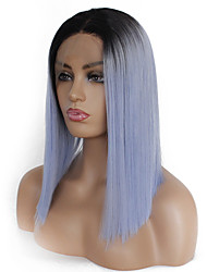 cheap -Synthetic Lace Front Wig Silky Straight Kardashian Middle Part Lace Front Wig Ombre Short Light Blue Synthetic Hair 12-16 inch Women's Heat Resistant Women Color Gradient Ombre / Glueless