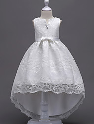 cheap -Princess Midi / Asymmetrical Flower Girl Dress - Lace Sleeveless V Wire with Bow(s) / Embroidery / Lace