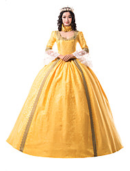 cheap -Princess Maria Antonietta Floral Style Rococo Victorian Renaissance Dress Party Costume Masquerade Women's Lace Costume Yellow Vintage Cosplay Christmas Halloween Party / Evening 3/4 Length Sleeve