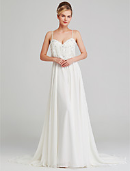 cheap -A-Line Scoop Neck Chapel Train Chiffon Spaghetti Strap Boho Beautiful Back Wedding Dresses with Pattern / Print 2020