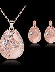 cheap -Women's Drop Earrings Pendant Necklace Classic Precious Stylish Classic Rhinestone Gold Plated Earrings Jewelry Pink For Party Daily 1 set