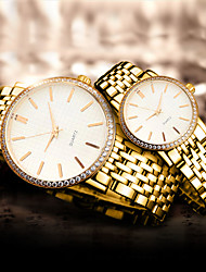cheap -Couple's Dress Watch Quartz Classic Water Resistant / Waterproof Analog Rose Gold Gold Silver / One Year / Stainless Steel / Imitation Diamond
