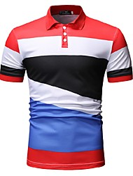 cheap -Men's Color Block Black & White Print Polo Business Work Black / Red