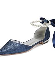 abordables -Femme Satin / Matière synthétique Printemps été Rétro Vintage / British Chaussures de mariage Talon Plat Bout pointu Strass / Perle / Paillette Bleu de minuit / Champagne / Ivoire / Mariage