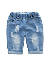 cheap -Kids Boys' Basic Street chic Solid Colored Cut Out Hole Ripped Cotton Jeans Blue
