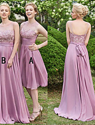 cheap -A-Line Illusion Neck Sweep / Brush Train Chiffon / Lace Bridesmaid Dress with Lace