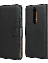 cheap -Case For Nokia Nokia 9 / Nokia 8 / Nokia 8 Sirocco Wallet / Card Holder / with Stand Full Body Cases Solid Colored Hard Genuine Leather / Nokia 6