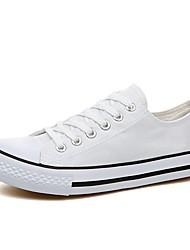 رخيصةأون -نسائي أحذية رياضية الربيع / الخريف كعب مسطخ أمام الحذاء على شكل دائري كلاسيكي كاجوال مناسب للبس اليومي شعار كانفا أبيض / أسود / أحمر