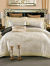 cheap -Duvet Cover Sets Luxury / Solid Colored Polyster Jacquard 4 PieceBedding Sets / 4pcs (1 Duvet Cover, 1 Flat Sheet, 2 Shams)